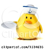 Clipart Of A 3d Yellow Bird Sailor Holding A Plate On A White Background Royalty Free Illustration