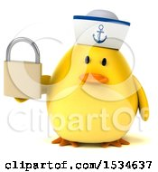 Clipart Of A 3d Yellow Bird Sailor Holding A Padlock On A White Background Royalty Free Illustration