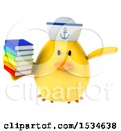 Clipart Of A 3d Yellow Bird Sailor Holding Books On A White Background Royalty Free Illustration