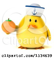 Clipart Of A 3d Yellow Bird Sailor Holding An Orange On A White Background Royalty Free Illustration