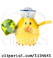 Clipart Of A 3d Yellow Bird Sailor Holding A Globe On A White Background Royalty Free Illustration