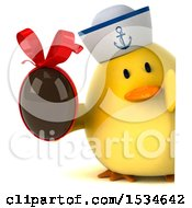 3d Yellow Bird Sailor Holding A Chocolate Egg On A White Background