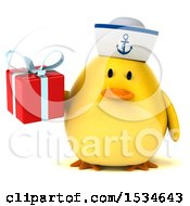 Clipart Of A 3d Yellow Bird Sailor Holding A Gift On A White Background Royalty Free Illustration