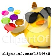 3d Yellow Bird Holding Messages On A White Background