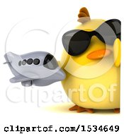 Clipart Of A 3d Yellow Bird Holding A Plane On A White Background Royalty Free Illustration