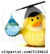 Clipart Of A 3d Yellow Bird Graduate Holding A Water Drop On A White Background Royalty Free Illustration