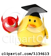 Clipart Of A 3d Yellow Bird Graduate Holding A Devil On A White Background Royalty Free Illustration