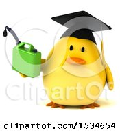 Clipart Of A 3d Yellow Bird Graduate Holding A Gas Can On A White Background Royalty Free Illustration