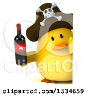 3d Yellow Bird Pirate Holding Wine On A White Background