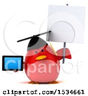 Clipart Of A 3d Chubby Red Bird Graduate Holding A Tablet On A White Background Royalty Free Illustration
