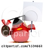 3d Chubby Red Bird Graduate Holding A Chocolate Egg On A White Background