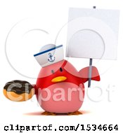 Clipart Of A 3d Chubby Red Bird Sailor Holding A Donut On A White Background Royalty Free Illustration