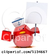 3d Chubby Red Bird Sailor Holding A Shopping Bag On A White Background