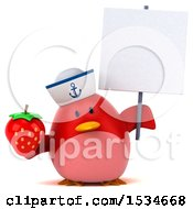 Clipart Of A 3d Chubby Red Bird Sailor Holding A Strawberry On A White Background Royalty Free Illustration
