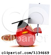 3d Chubby Red Bird Graduate Holding A Pizza On A White Background