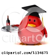 Clipart Of A 3d Chubby Red Bird Graduate Holding Wine On A White Background Royalty Free Illustration