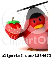 Clipart Of A 3d Chubby Red Bird Graduate Holding A Strawberry On A White Background Royalty Free Illustration