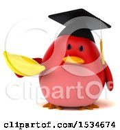 Clipart Of A 3d Chubby Red Bird Graduate Holding A Banana On A White Background Royalty Free Illustration