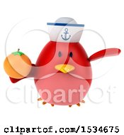 Clipart Of A 3d Chubby Red Bird Sailor Holding An Orange On A White Background Royalty Free Illustration
