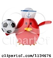 Clipart Of A 3d Chubby Red Bird Sailor Holding A Soccer Ball On A White Background Royalty Free Illustration