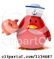 Clipart Of A 3d Chubby Red Bird Sailor Holding A Piggy Bank On A White Background Royalty Free Illustration