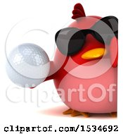 3d Chubby Red Bird Holding A Golf Ball On A White Background