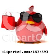3d Chubby Red Bird Holding A Shopping Bag On A White Background