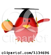 Clipart Of A 3d Chubby Red Bird Graduate Holding An Orange On A White Background Royalty Free Illustration