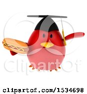 Clipart Of A 3d Chubby Red Bird Graduate Holding A Hot Dog On A White Background Royalty Free Illustration