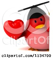 Clipart Of A 3d Chubby Red Bird Graduate Holding A Heart On A White Background Royalty Free Illustration