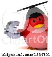 Clipart Of A 3d Chubby Red Bird Graduate Holding A Euro On A White Background Royalty Free Illustration