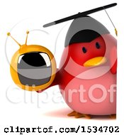 Clipart Of A 3d Chubby Red Bird Graduate Holding A Tv On A White Background Royalty Free Illustration
