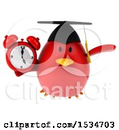 Clipart Of A 3d Chubby Red Bird Graduate Holding An Alarm Clock On A White Background Royalty Free Illustration