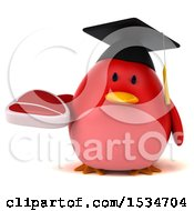 Clipart Of A 3d Chubby Red Bird Graduate Holding A Steak On A White Background Royalty Free Illustration