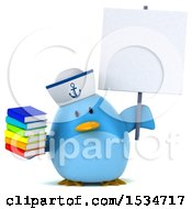 3d Chubby Blue Bird Sailor Holding Books On A White Background