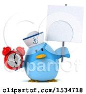 3d Chubby Blue Bird Sailor Holding An Alarm Clock On A White Background