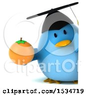 Clipart Of A 3d Chubby Blue Bird Graduate Holding An Orange On A White Background Royalty Free Illustration