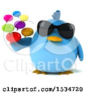3d Chubby Blue Bird Holding Messages On A White Background