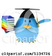 Clipart Of A 3d Chubby Blue Bird Graduate Holding Books On A White Background Royalty Free Illustration