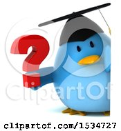 Clipart Of A 3d Chubby Blue Bird Graduate Holding A Question Mark On A White Background Royalty Free Illustration