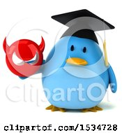 Clipart Of A 3d Chubby Blue Bird Graduate Holding A Devil On A White Background Royalty Free Illustration