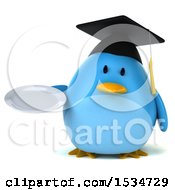 Clipart Of A 3d Chubby Blue Bird Graduate Holding A Plate On A White Background Royalty Free Illustration