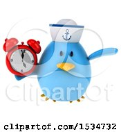Clipart Of A 3d Chubby Blue Bird Sailor Holding An Alarm Clock On A White Background Royalty Free Illustration