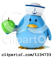 Clipart Of A 3d Chubby Blue Bird Sailor Holding An Apple On A White Background Royalty Free Illustration