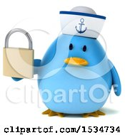 Clipart Of A 3d Chubby Blue Bird Sailor Holding A Padlock On A White Background Royalty Free Illustration