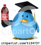 Clipart Of A 3d Chubby Blue Bird Graduate Holding A Soda On A White Background Royalty Free Illustration