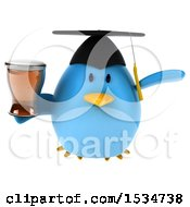 Clipart Of A 3d Chubby Blue Bird Graduate Holding A Beer On A White Background Royalty Free Illustration