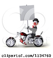 3d White And Black Clown Riding A Chopper Motorcycle On A White Background