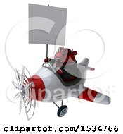 3d Red Business Bull Flying A Plane On A White Background
