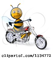 Clipart Of A 3d Male Bee Riding A Chopper Motorcycle On A White Background Royalty Free Illustration